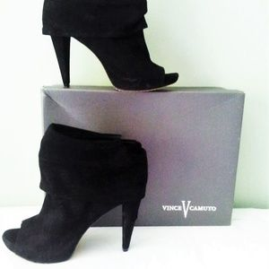 Vince Camuto Fetch Bootie Black Kid Suede 7.5